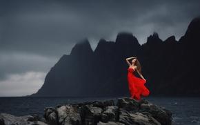девушка, красное платье, настроение, океан, скалы