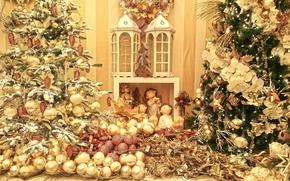 圣诞节, 新年, 风光, 圣诞树, 玩具, 装饰物, 球, 锥, 金属丝