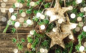 Новый год, Рождество, ветки, звёзды, шишки, блики