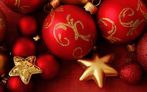 New Year, Christmas, Toys, ornamentation, Balls, Star