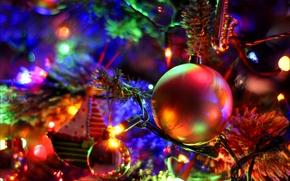 Capodanno, Albero di Natale, Palloncini, Ghirlande, luci