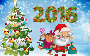Christmas Wallpaper, year of the monkey, Wallpaper 2016, Santa Claus, fir-tree, monkey