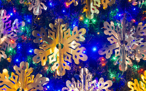 Christmas tree lights, Snowflakes, happy new year, Christmas