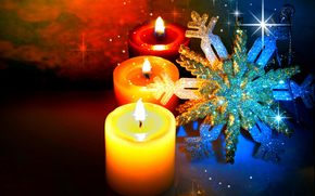 Candles, snowflake, Christmas Wallpaper