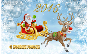 Christmas Wallpaper, happy new year, Santa Claus, with the new year 2016