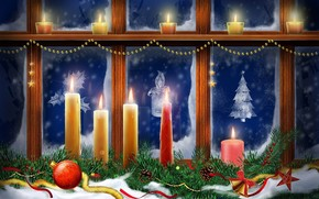 New Year, window, Candles, Christmas Wallpaper