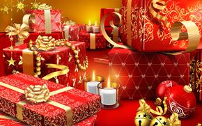 Christmas Wallpaper, gifts, Candles, happy new year