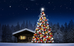 night, Christmas tree, cabin, trees, Christmas Wallpaper
