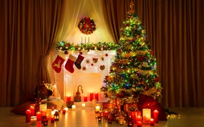 New Year, Christmas tree, Candles, New Interior, Christmas Wallpaper
