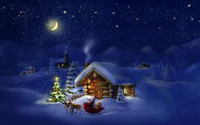 новый год, новогодняя ёлка, снег, домик, дед мороз, ночь, месяц, новогодние обои