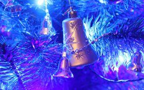 новогодняя ёлка, гирлянды, огни, игрушки, колокольчик, новогодние обои