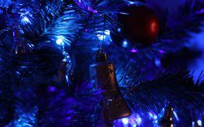 новогодняя ёлка, гирлянды, огни, игрушки, новогодние обои, новый год