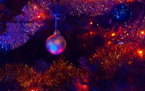 Christmas tree, Garlands, lights, Toys, Christmas Wallpaper, New Year