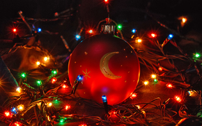 новогодние обои, гирлянды, огни, шар, новый год