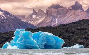 gelato, lastra di ghiaccio galleggiante, ghiacciaio, inverno, Montagne, Patagonia