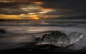 ice, glacier, floe, winter, sea, waves
