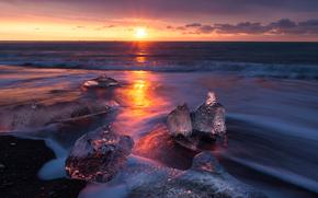 лёд, ледник, льдины, зима, море, солнце, закат