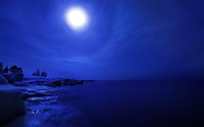 лёд, ледник, зима, вода, водоем, ночь, луна