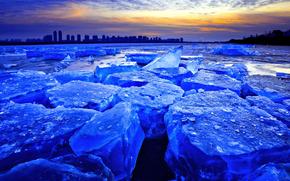 gelato, ghiacciaio, lastra di ghiaccio galleggiante, inverno, pond, città