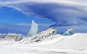 gelato, ghiacciaio, lastra di ghiaccio galleggiante, nevicata, inverno, cielo, nuvole, tempesta