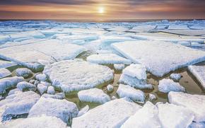 лёд, ледник, льдины, зима, море, солнце