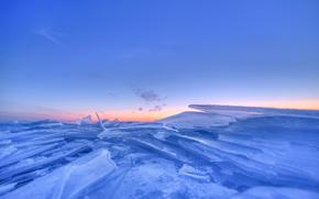 gelato, ghiacciaio, lastra di ghiaccio galleggiante, inverno