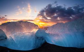 лёд, ледник, льдины, зима, море, небо, солнце, закат