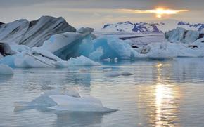 лёд, ледник, льдины, зима, море, айсберг, солнце