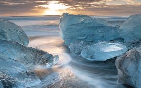 gelato, ghiacciaio, lastra di ghiaccio galleggiante, inverno, mare, iceberg, sole