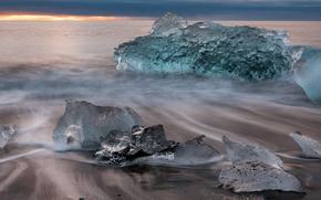 gelato, ghiacciaio, inverno, mare