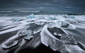 gelato, lastra di ghiaccio galleggiante, ghiacciaio, inverno, mare