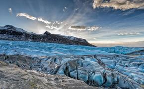 gelato, lastra di ghiaccio galleggiante, ghiacciaio, inverno, Montagne, cielo