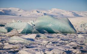 gelato, lastra di ghiaccio galleggiante, ghiacciaio, inverno, mare, iceberg