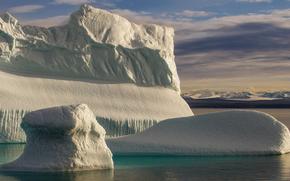 gelato, ghiacciaio, lastra di ghiaccio galleggiante, inverno, iceberg, mare
