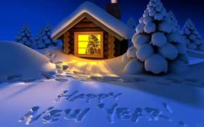 New Year, winter, cabin, window, fir-tree, snow, trees, the inscription on the snow, Christmas Wallpaper