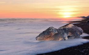 лёд, ледник, льдины, зима, море, волны, солнце, закат