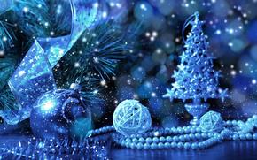 Sfondi di Natale, Buon anno, abete, Giocattoli, Palloncini