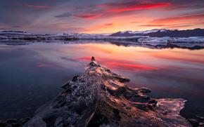 gelato, ghiacciaio, lastra di ghiaccio galleggiante, inverno, pond, Montagne