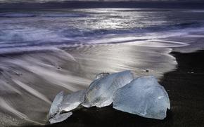 gelato, ghiacciaio, lastra di ghiaccio galleggiante, inverno, pond, onde, mare