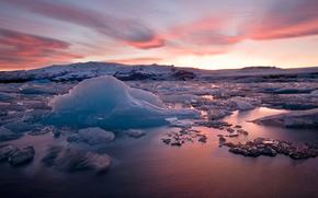 gelato, ghiacciaio, lastra di ghiaccio galleggiante, inverno, pond, Montagne, tramonto