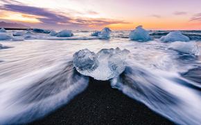 gelato, ghiacciaio, lastra di ghiaccio galleggiante, inverno, pond, mare, onde