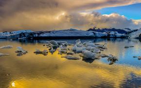 gelato, ghiacciaio, lastra di ghiaccio galleggiante, inverno, pond, nuvole
