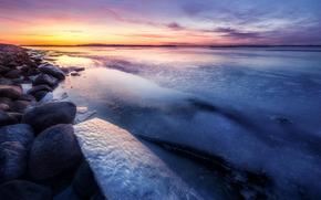 gelato, ghiacciaio, lastra di ghiaccio galleggiante, inverno, pond, sera, tramonto