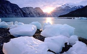 gelato, ghiacciaio, lastra di ghiaccio galleggiante, inverno, pond, Montagne, sole