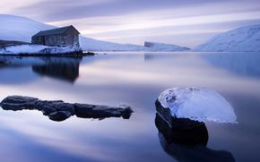 лёд, ледник, льдины, зима, водоем, домик, горы