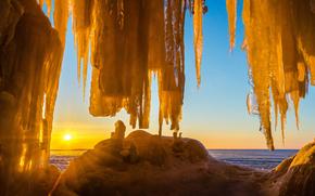 gelato, ghiacciaio, lastra di ghiaccio galleggiante, inverno, pond, sole, Ghiaccioli, cielo