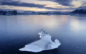 gelato, ghiacciaio, lastra di ghiaccio galleggiante, inverno, pond