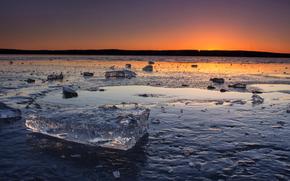 gelato, ghiacciaio, lastra di ghiaccio galleggiante, inverno, pond, tramonto