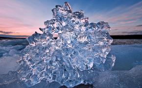 ice, transparent, glacier, floe, winter, pond