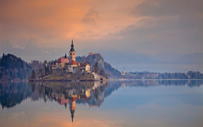 Bled, Slovenia, закат